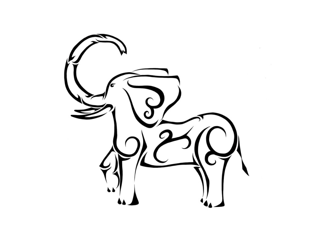 1024x768 Awesome Tribal Elephant Standing On Profile Tattoo Design