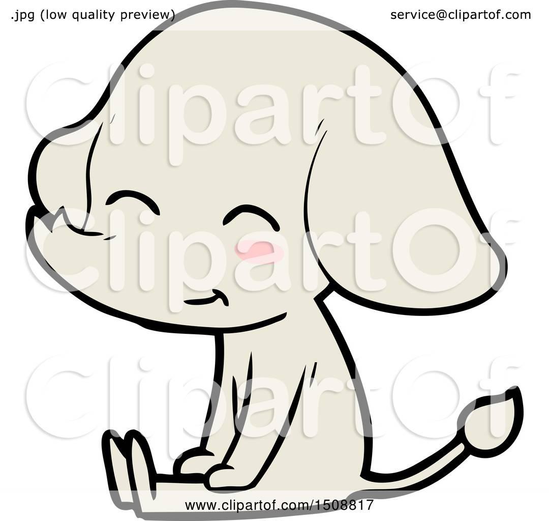 1080x1024 Cute Cartoon Elephant Sitting