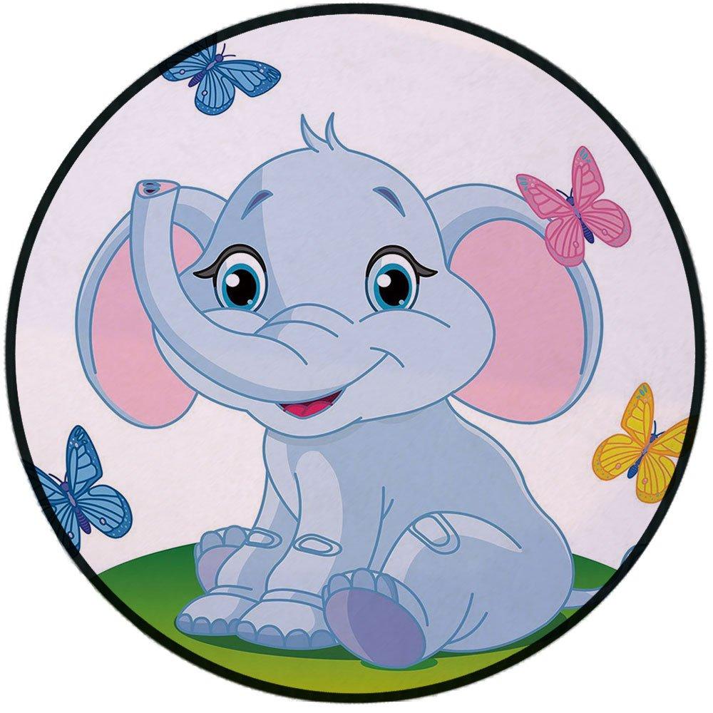1000x1000 Printing Round Rug, Nursery, Cute Baby Elephant