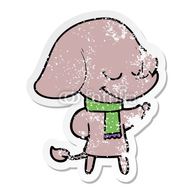 400x400 Distressed Sticker Of A Cartoon Smiling Elephant Wearing Scarf