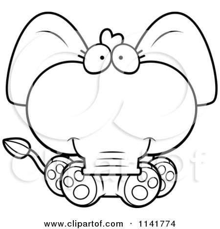 450x470 Cartoon Clipart Of A Black And White Cute Baby Elephant Sitting