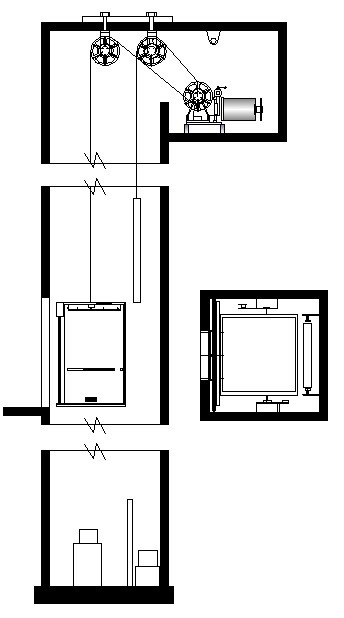 344x618 Passenger Elevator With Separate Sheave For Counter Weight