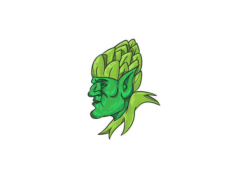 800x600 Green Elf Wearing Hops On Head Drawing
