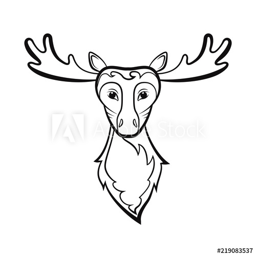 500x500 Head Of A Elk Drawing On A White Background Vector Illustration