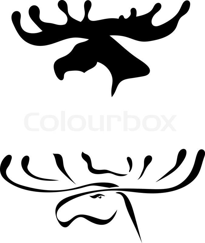 675x800 Black Silhouettes Of Elk Head Stock Vector Colourbox