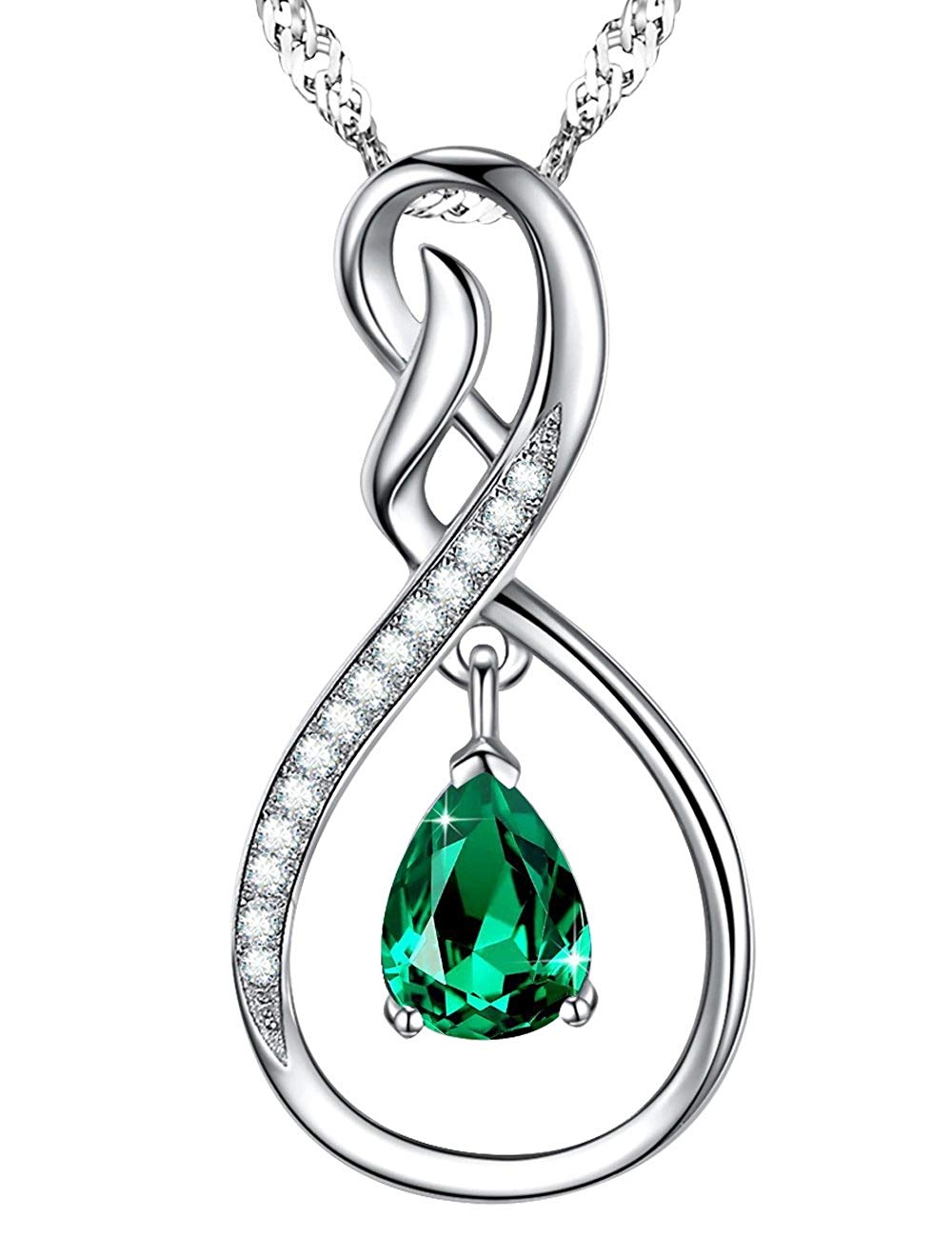 1000x1300 Jewelry Gift Green Emerald Necklace Charm Infinity