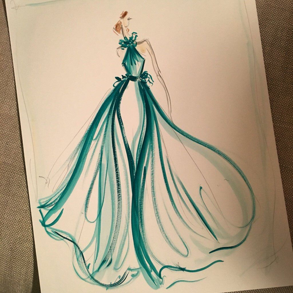 1024x1024 Sketch Of The Day Emerald Green Tulle Overlay Satin Gown Sketch