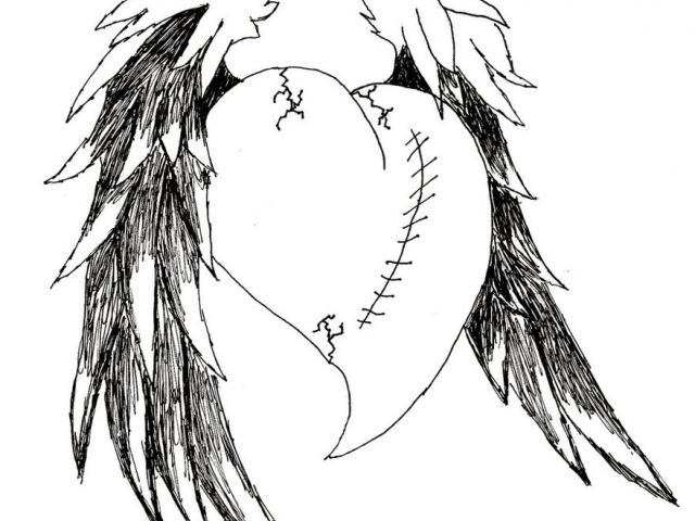 640x480 Dark Angel Clipart Easy Emo Drawing
