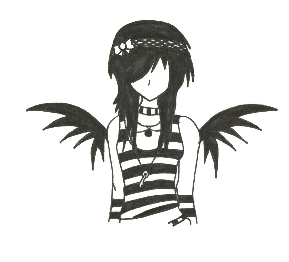 937x852 Dark Angel Clipart Easy Emo Drawing