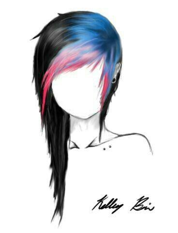 368x480 dibujos emo hair, scene hair, dyed hair