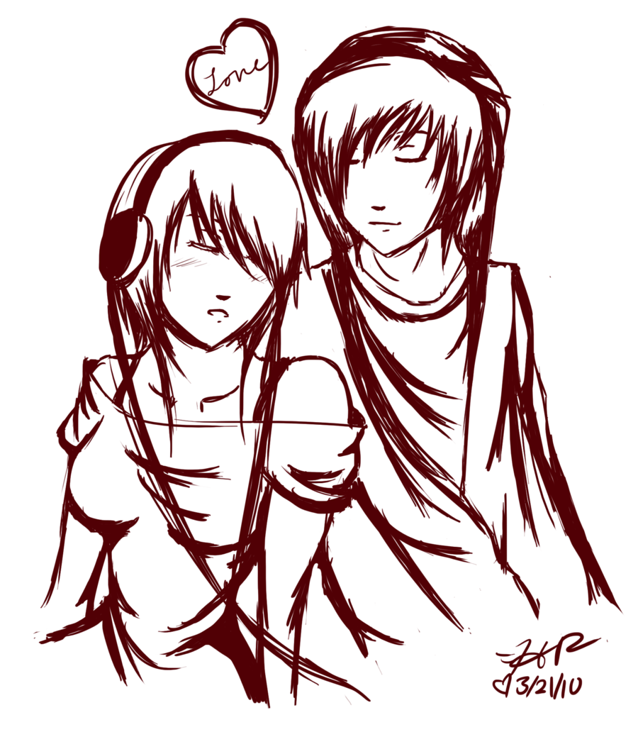 900x1032 Emo Couple Sketch