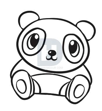 350x380 Steps To Draw A Panda Draw Panda Easy Steps To Draw Baby Pandas