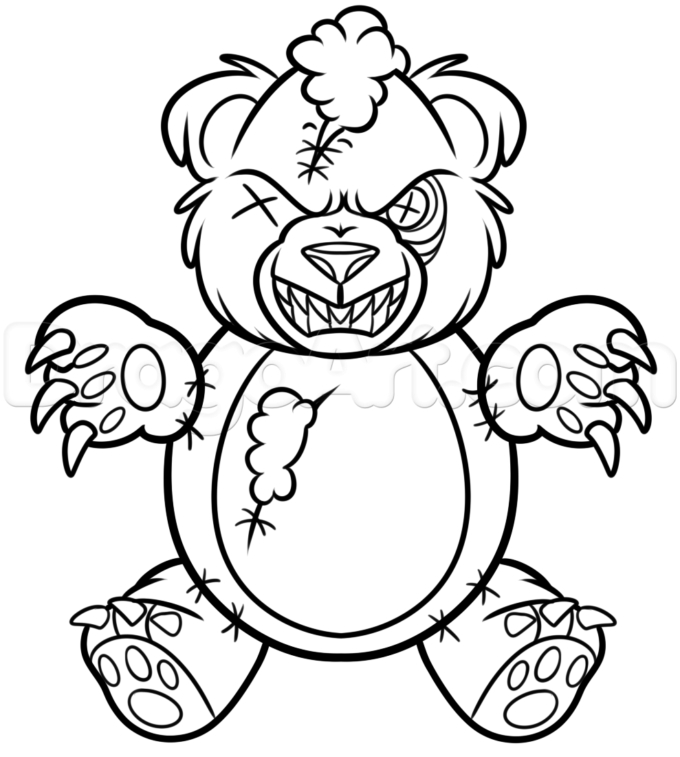 989x1100 Bear Drawing Creepy For Free Download