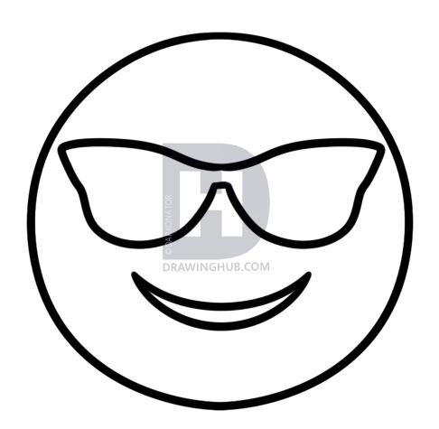 486x475 How To Draw Cool Emoji, Step