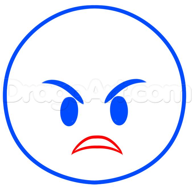 678x664 How To Draw Angry Emoji, Step