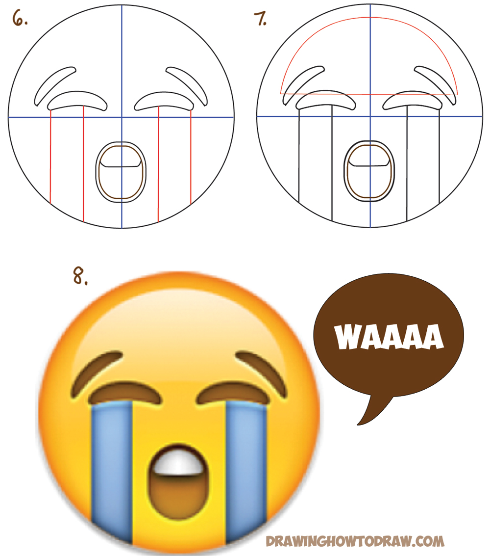 1000x1141 How To Draw Sobbing Crying Emoji Face With Easy Steps Lesson