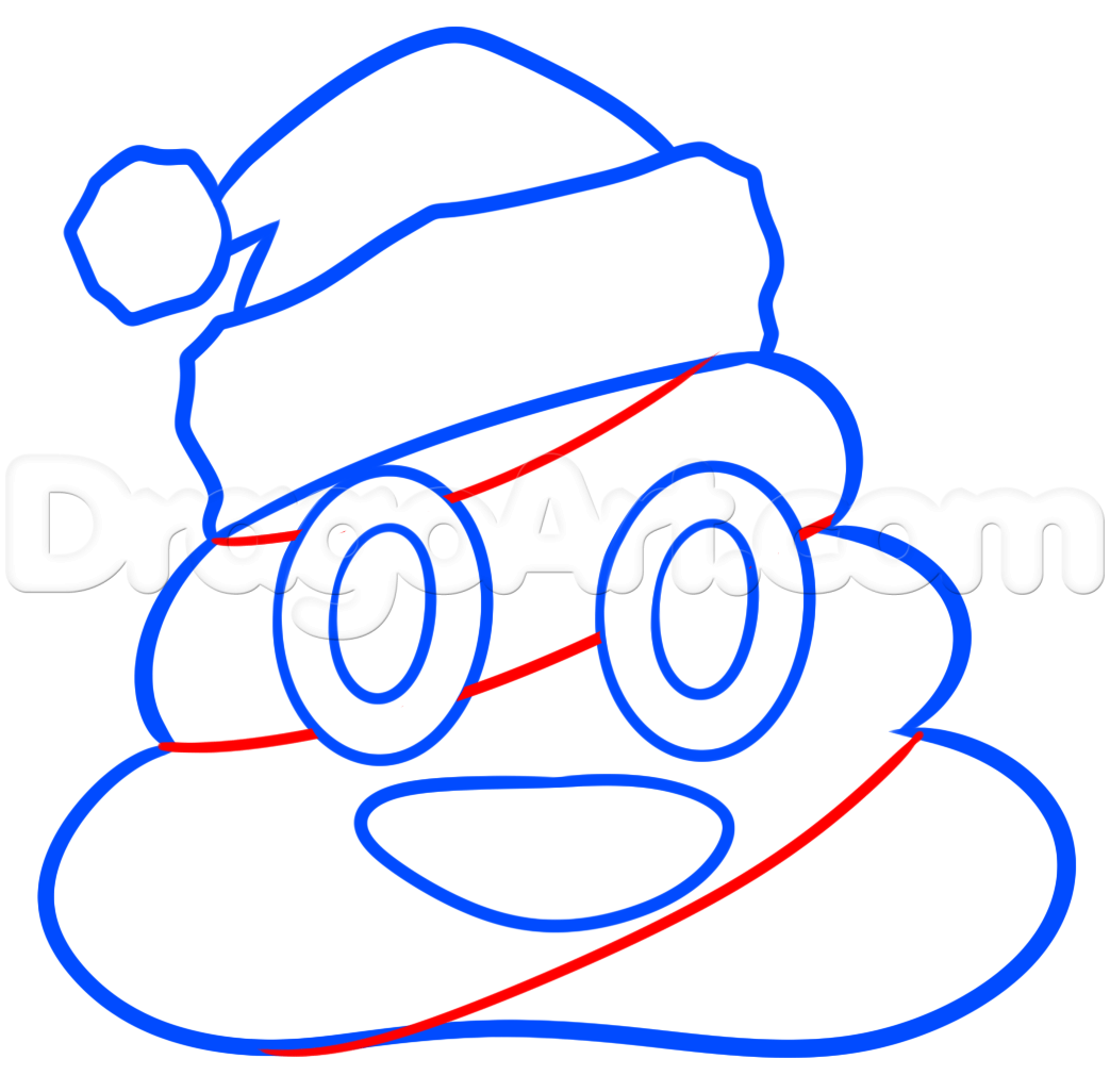 1043x1026 Christmas Poo Emoji Drawing Lesson, Step