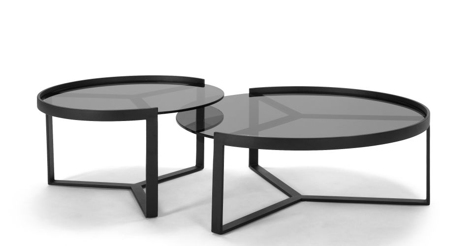 965x500 Aula Nesting Coffee Table, Black And Grey Low Tables