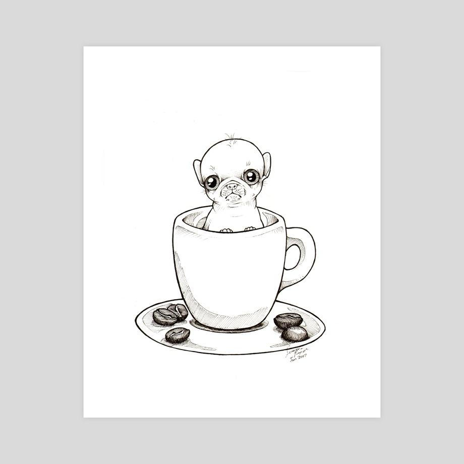 920x920 Espresso Cup Puppy, An Art Print