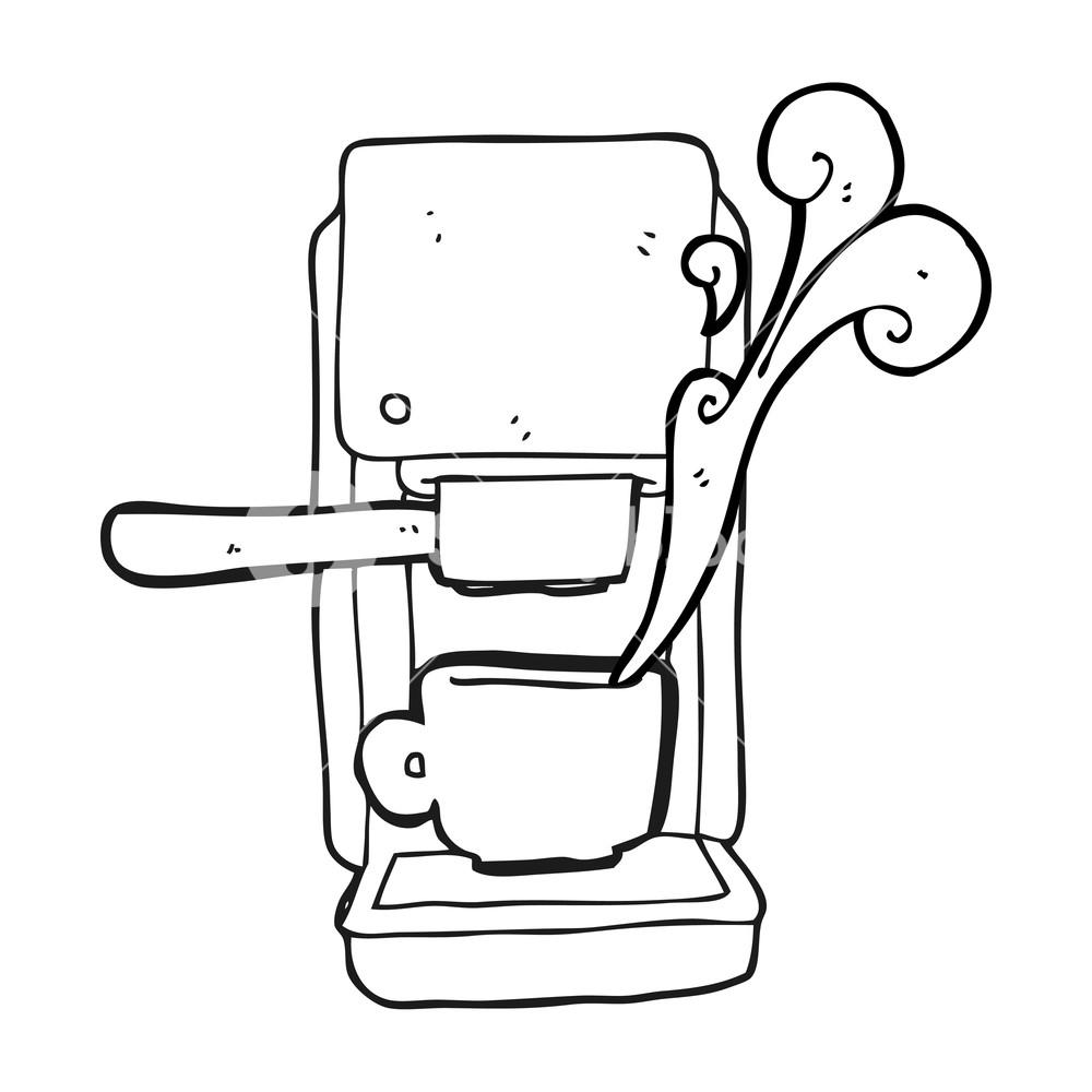 1000x1000 Freehand Drawn Black And White Cartoon Espresso Maker Royalty Free