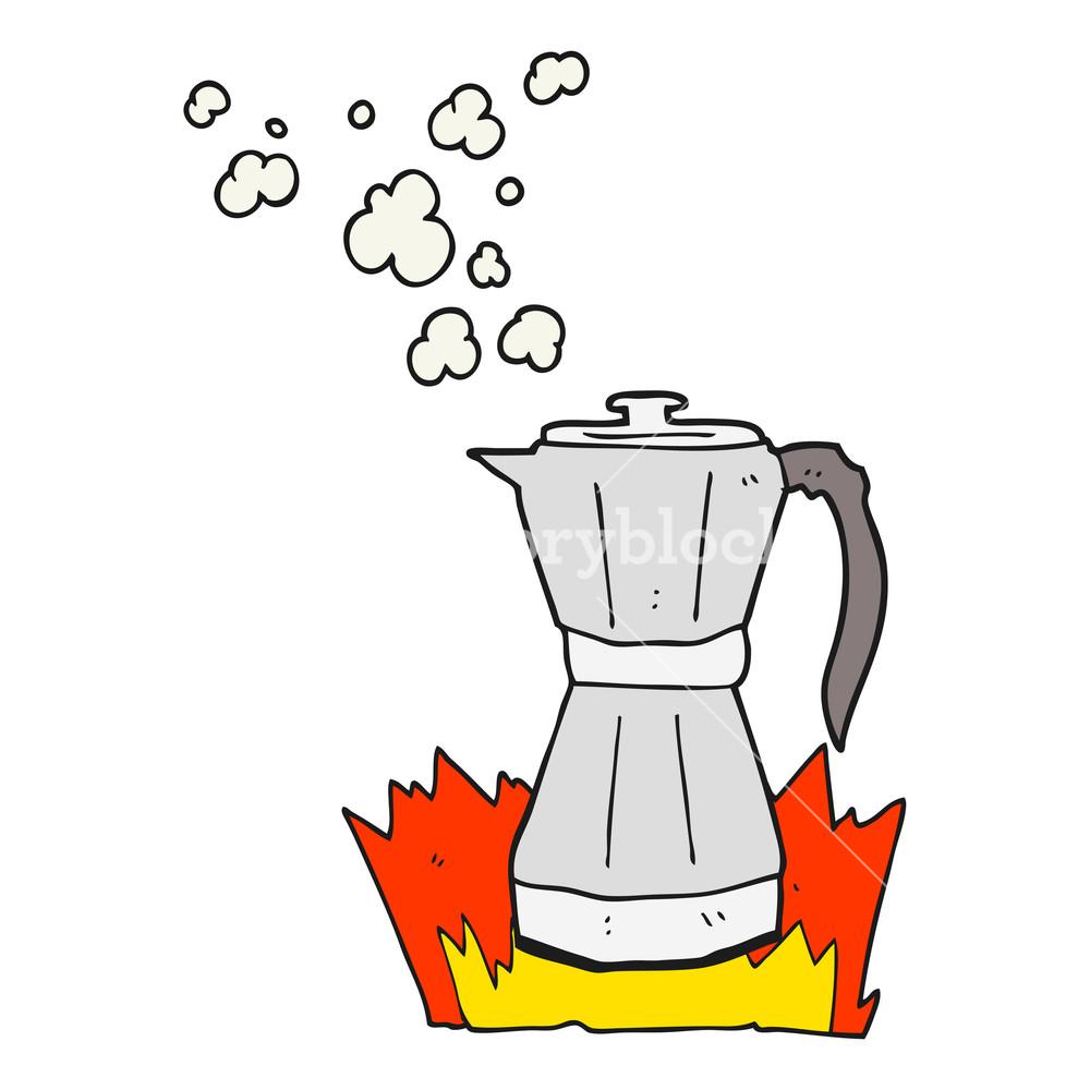 1000x1000 Freehand Drawn Cartoon Stovetop Espresso Maker Royalty Free Stock
