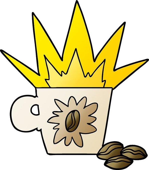 599x681 Cartoon Espresso Coffee Art Print