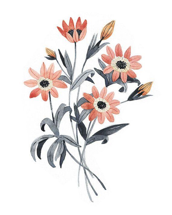 570x713 Flowers Drawings Wildflower Art Print