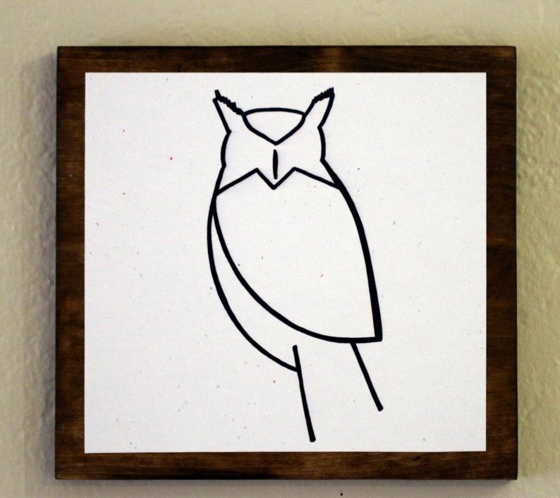 794x706 Owl Minimalist Animal Art Original Drawings On Wood Etsy