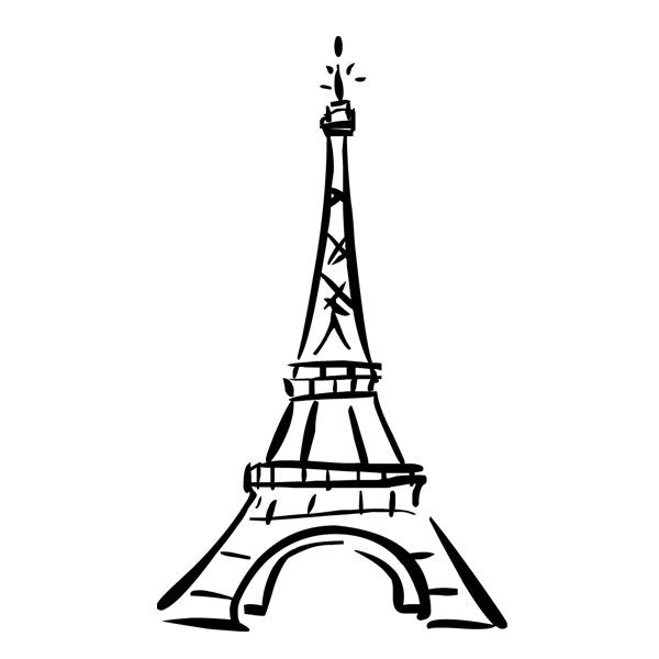 600x600 Coloring Mesmerizing Eiffel Tower Outline Eiffel Tower Outline
