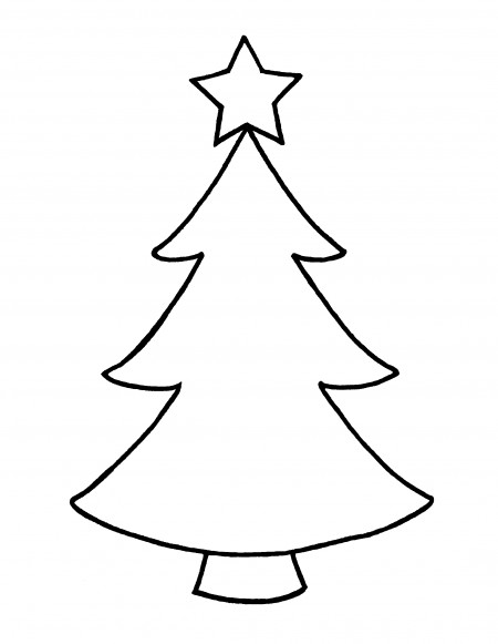 450x581 Christmas Tree Drawing Outline Beautiful Free Evergreen Tree
