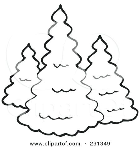 450x470 Evergreen Tree Outline Simple Pine Tree Drawing At Free