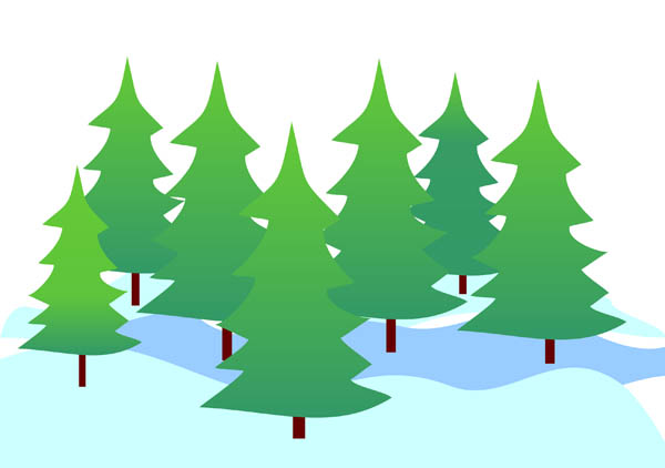 600x422 Winter Evergreen Tree Clipart