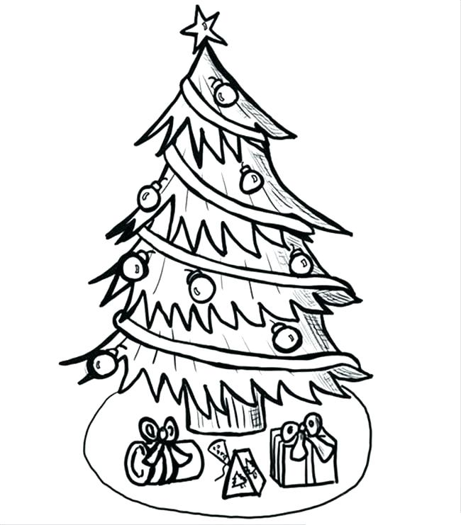 650x741 Christmas Tree Drawing Outline