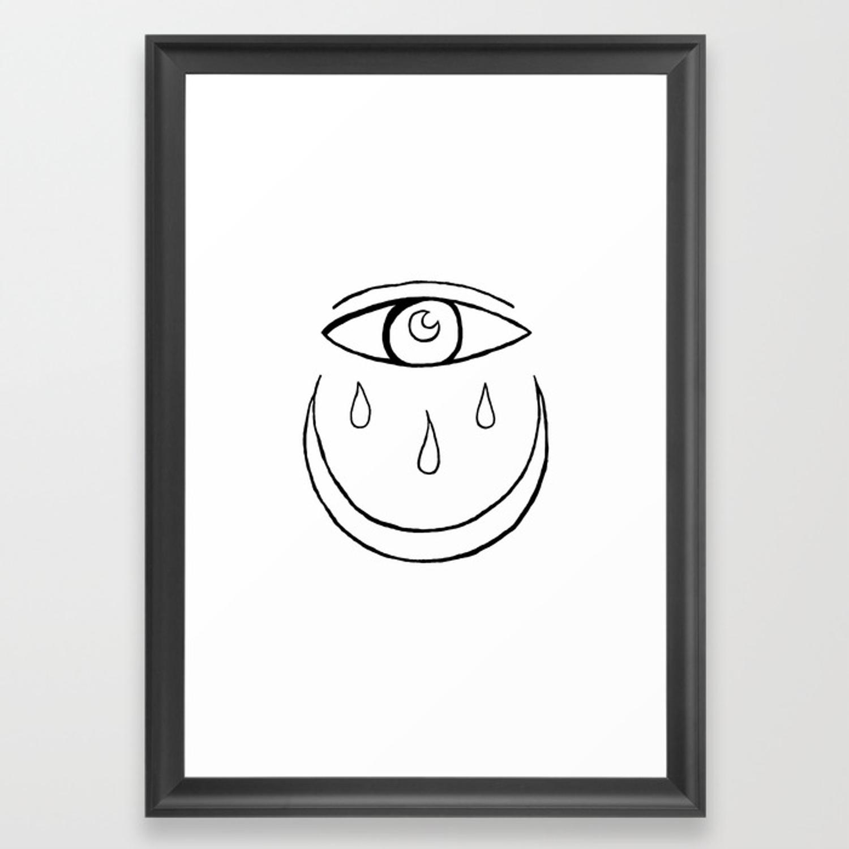 1500x1500 Evil Eye Crescent Moon Drawing Framed Art Print