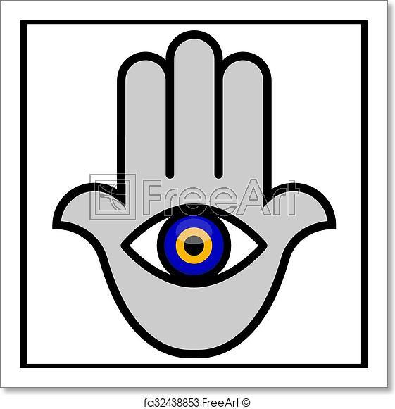 561x581 Free Art Print Of Evil Eye In Hamsa Hand Vector Illustration