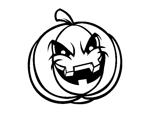 600x470 Evil Scary Pumpkin Coloring Page