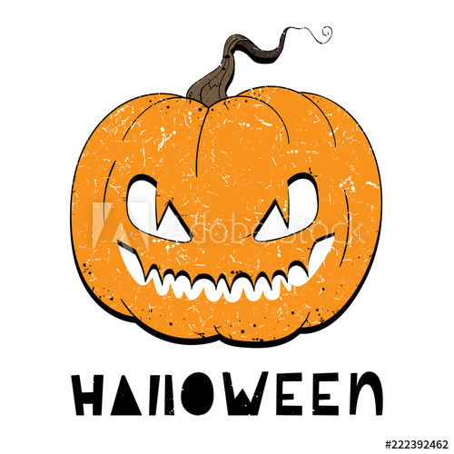 500x500 Vector Illustration Of Pumpkin With Eyes For Halloween