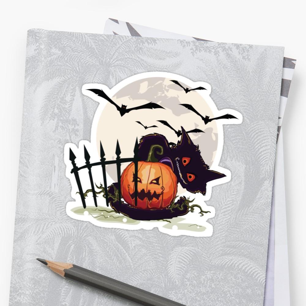 1000x1000 Cheerful Halloween Black Cat Evil Pumpkin Moon, Crows