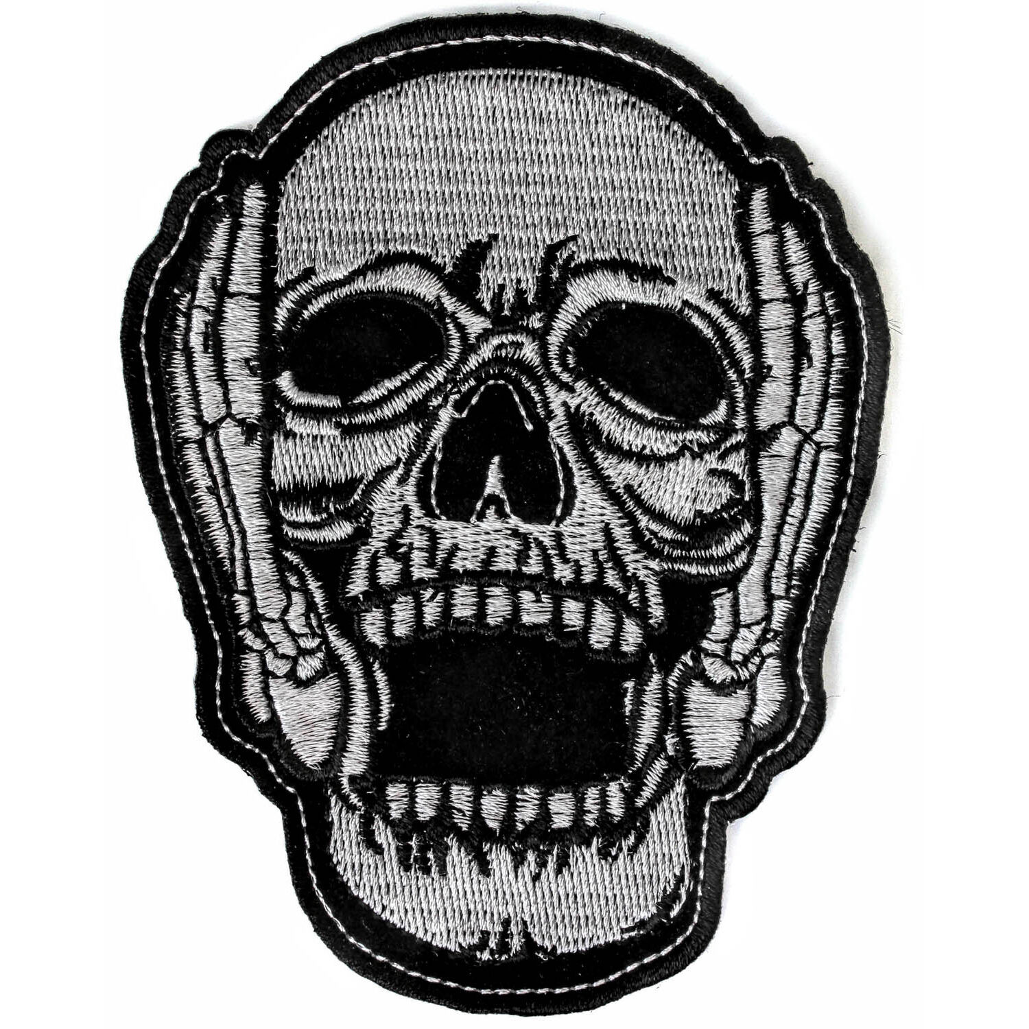 1500x1500 embroidered hear no evil skull sew or iron on patch biker patch ebay