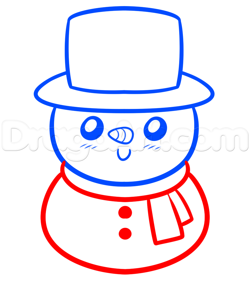 865x970 Drawing A Kawaii Frosty The Snowman, Step
