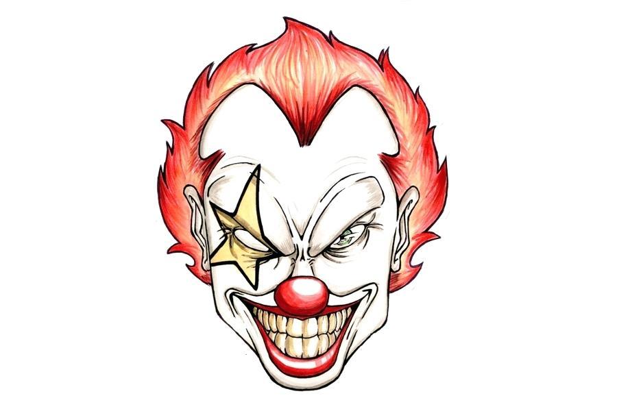 900x600 Evil Joker Drawings Scary Clown Drawing Evil Clown