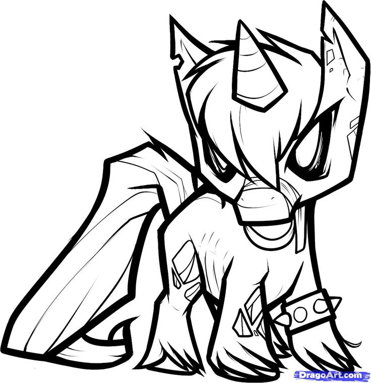 736x760 Evil Unicorn Coloring Pages