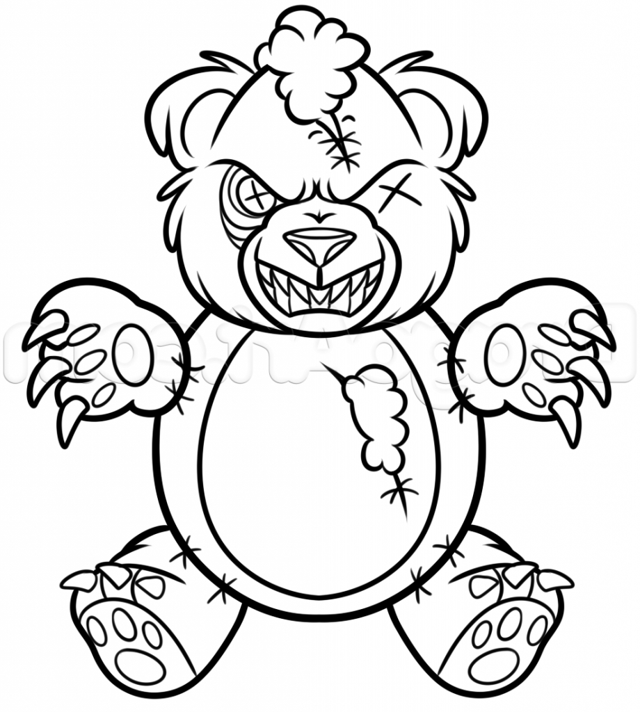920x1024 Bear Drawing Creepy For Free Download