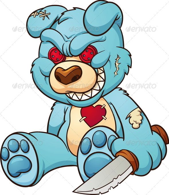 590x680 Evil Teddy Bear Vector Designs And Patterns Art, Drawings