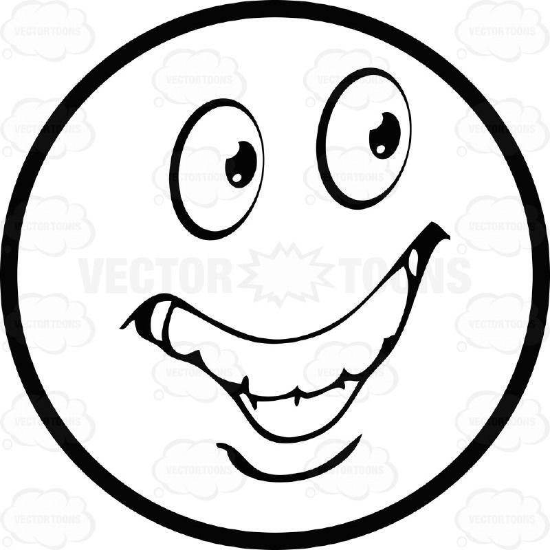 800x800 Ecstatic Large Eyed Black And White Smiley Face Emoticon