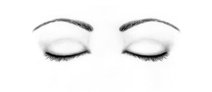 700x304 Closed Eyes Original Sketch Drawing