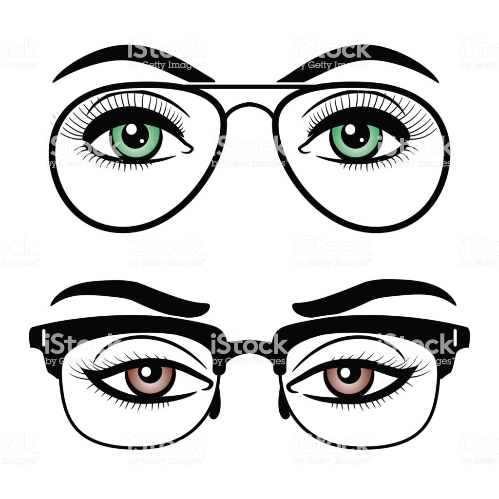 1024x1024 Collection Of 'eyes With Glasses Drawing' Download More Than