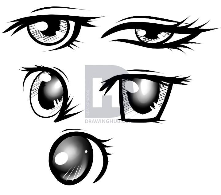 720x635 How To Draw Female Anime Eyes, Step
