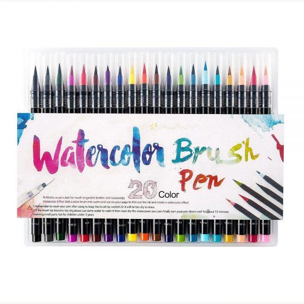 600x600 Pieces Color Brush Pens Set Watercolor Brush Pen Color Markers