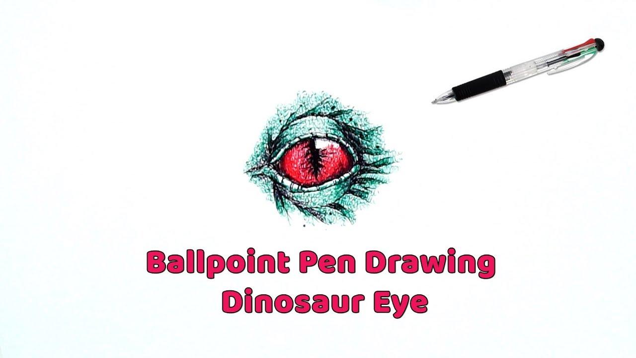 1280x720 Ballpoint Pen Drawing Tutorial Drawing Dinosaur Eye Ball Pen